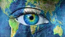 planet earth blue helmet eye
