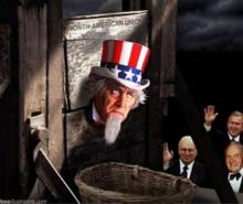 uncle sam in a guillotine