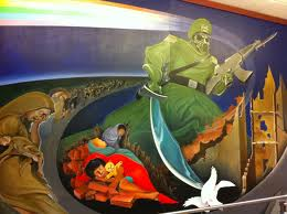 On the Mural at Denver International Airport near baggage.