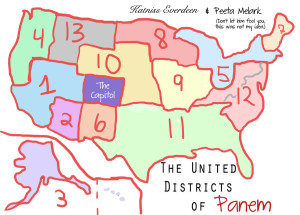 A map of Panem's 12 Districts. Note that Capitol City is located in Colorado, precisely where the Federal government is moving much of its operations.