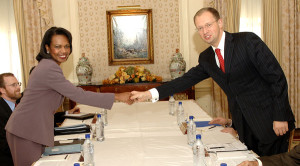 Yatsenyuk and former Secretary of State Rice. The Ukrainian coup has been a long time coming.
