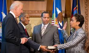 Loretta Lynch sworn in as Attorney General, as she swore before Almighty God, to protect and defend the Constitution.